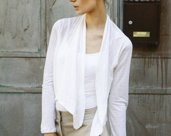 white shawls-White A symetrical cardigan - Long Sleeve womens top- white wrap