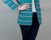 Vintage 80s Stripped Woven Blazer// Colorful Boho Southwestern Stripe Teal Blazer Jacket