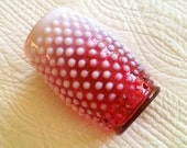 Vintage Shabby Chic Cranberry Hobnail Opalescent Glass Vase, Romantic Home, Olives and Doves
