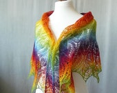 Knit Rainbow  triangular shawl, hand knit shawl