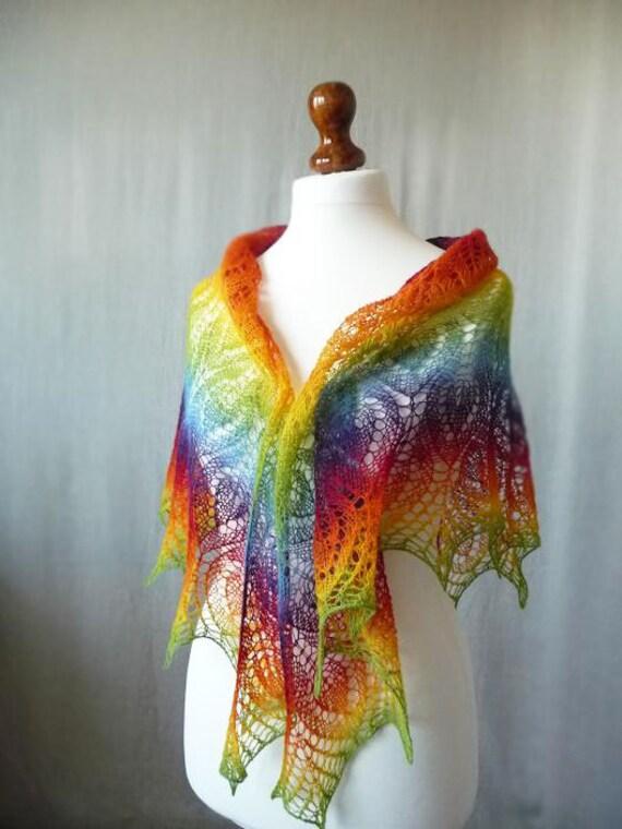 Knit Rainbow  triangular shawl, hand knit shawl