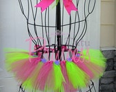 Evie - Hot Pink and Neon Green Tutu with Purple Flowers - Tutu Skirt - Available in Infant, Toddler, Girls, Teenager and Adult Sizes