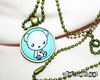 "Happy POLAR BEAR 1"" Pendant Necklace - or 2 for 20 - Positive Kawaii Cute - ReLove Plan.et"