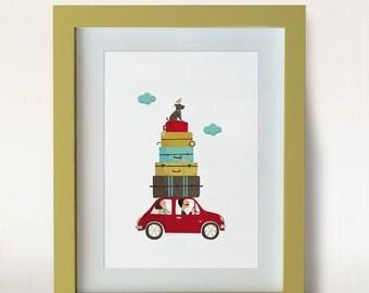 Illustratión.The weekenders. Print. Wall art. Art decor. Hanging wall. Printed art. Decor home. Gift idea Bedroom. Sweet home. Tutticonfetti
