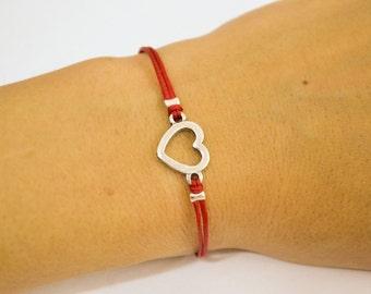 Silver heart love bracelet, red cord bracelet, silver heart charm, stack bracelet, minimalist jewelry, gift for her, present for girlfriend