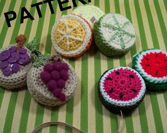 PATTERN: Fruity-licious Tape Measure Covers. Grapes, Watermelon, Lemons, Limes, Oranges.