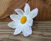 Daisy Hair Clip - Glow in the Dark Accessory - Handmade Fabric Flower Snap Hair Clip - White Daisy