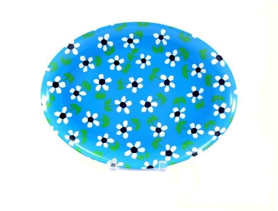Vintage Retro Blue and White Flower Platter