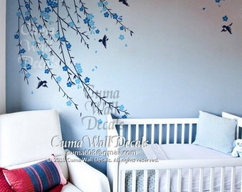 baby boy tree wall decal Nursery wall decal and birds blue cherry blossom birds wall decals tree - Z151 by cuma