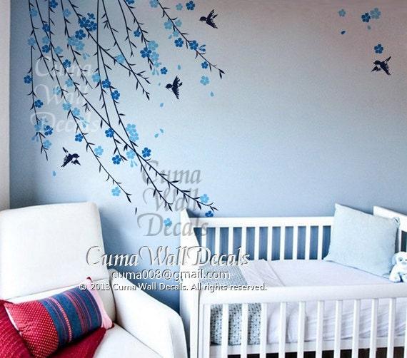 Baby boy tree wall decal nursery wall decal and birds by cuma for Baby boy wall mural