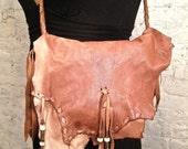 70s Erda Handmade Deerskin Leather Hippie Bag - ChelseaGirlNYC