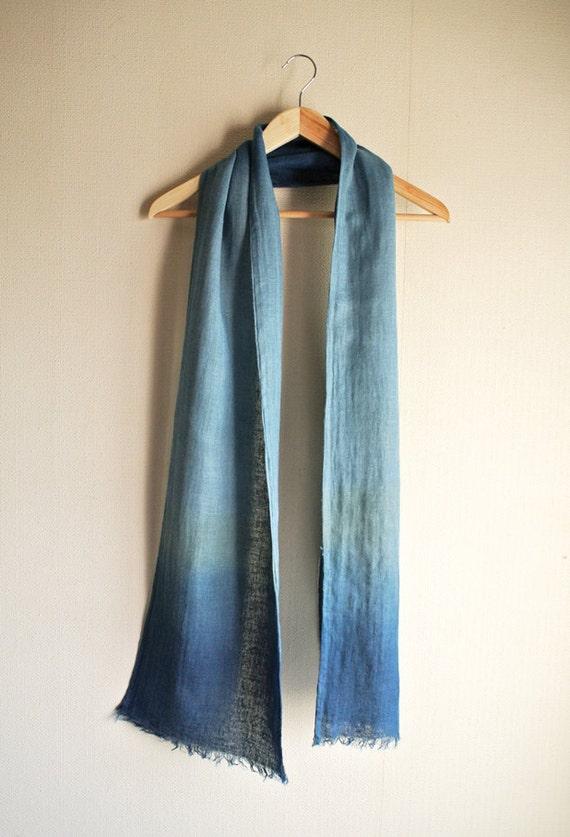 Natural (Indigo/Gromwell/ Wild herb Mizu) dyed rusty looking Linen scarf
