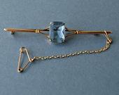 Edwardian 9k gold bar brooch Blue stone bar brooch Vintage gold pin brooch Blue stone brooch Sapphire blue pin brooch 9 carat pin brooch