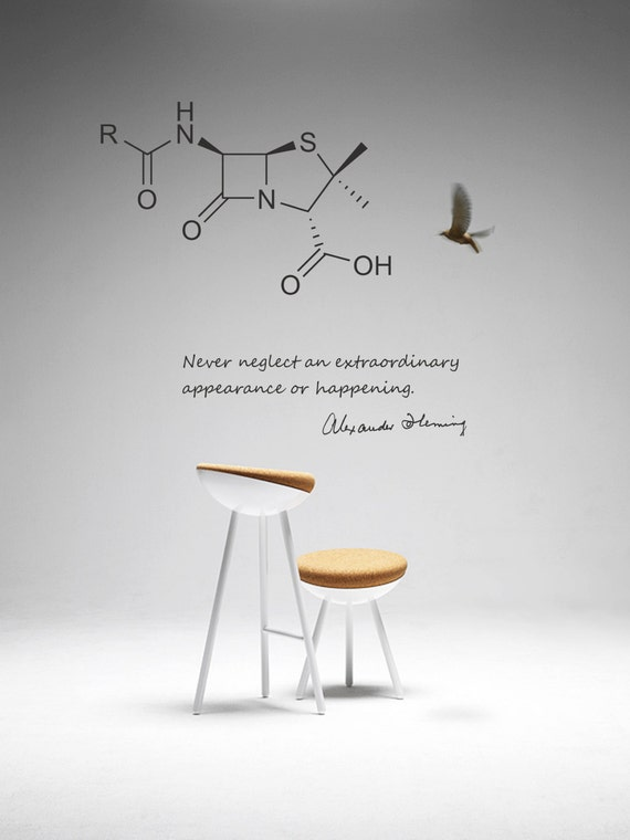Science art biology fleming quote and penicillin molecule for Awesome science wall decals
