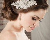 Hair Accessories Bridal Lace Comb, Pearl & Rhinestone Swarovski Crystal Beaded Scalloped Lace Beaded Hair Accessory, Camilla Christine, EDEN