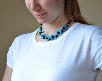 Turquoise Necklace, Crochet Necklace, Flowers Collar, Beaded Oya Necklace, Turquoise Jewelry, Crochet Jewellery, Beadwork, ReddApple