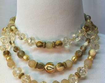 Vintage 1960s Statement Necklace, Three Strand, Neutral REDUCED