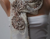 Beige and Cream Big Scarf with two big flowers. Valentine Scarf. For 4 seasons. For her. Floral Scarf.