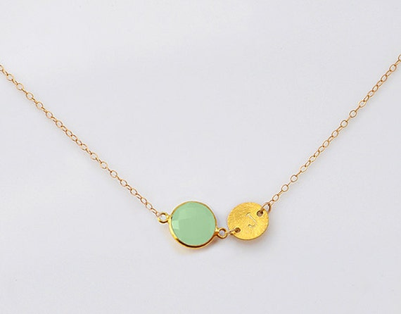 Danique august birthstone necklace personalized natural green