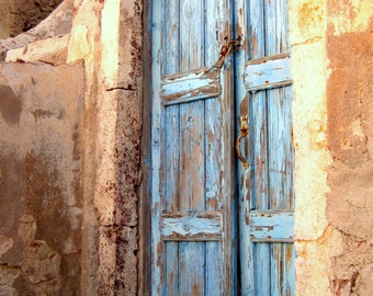 Wooden Door Santorini Greece Weathered Distressed Door Photograph Print. Photo. Wall Art. Rustic Home Decor. Wall Decor. Greek Islands.