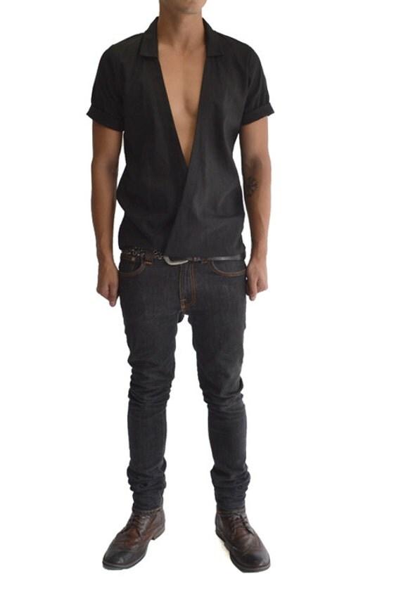 Linen Criss Cross Dropped Panel Shirt Black