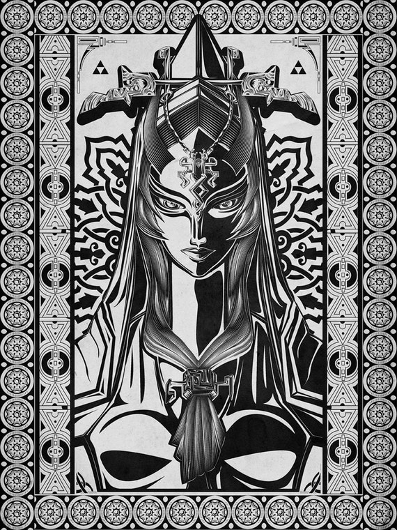 Legend of Zelda Twilight Princess - Midna Twil Line Art - signed museum quality giclée fine art print