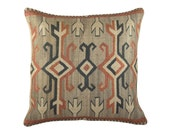 Arrow Burlap Pillow Cover, Decorative Throw Pillow, Cushion, Tribal, Accent Pillow, Log Cabin, Rustic, Geometric, Feed Sack, 16x16