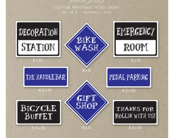 Pedal Party Road Signs - Printable PDF Files