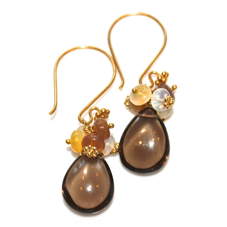 smoky quartz earrings chocolate brown earrings opal