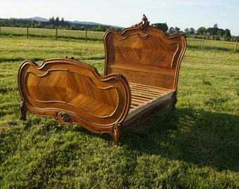 SOLD ~ Antique French Rococo Style Full Bed / Double Bed Frame / French Bed
