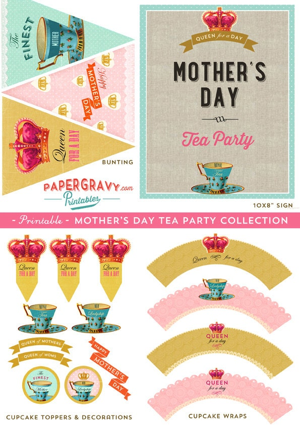 Printable Mother 39 S Day Tea Party Decorations 16 Designs