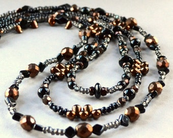 Triple Strand Statement Necklace Copper Black Czech Beaded 3 Modern Art Deco Fashion Jewelry Toggle Clasp Jewellery Free Shipping