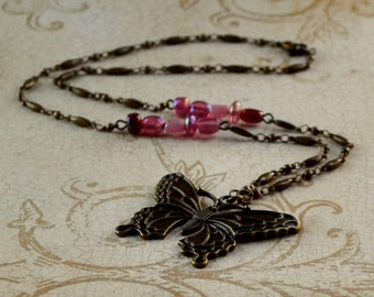 Butterfly Antique Bronze Victorian Pendant Pink Iridescent Beaded Mauve Feminine Fashion Chain Necklace Boho Jewelry Free Shipping