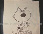 Cotton tote shopping bag, strong yet light weight, cute cat bird buddy friendship screen print, brown print on beige bag, buddy-baggie