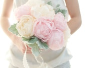 Up cycled handmade fabric flower Peony bouquet, light pink peony, pastel peach peony, Pfingstrosen