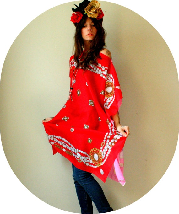 valentines day sale. silk caftan dress. 2-sides dress. pink and red. vintage silk scarves. one of a kind. READY TO SHIP