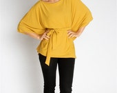 Yellow Top - Womens Blouse Front Tie Jersey Top size M only.