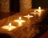 Rustic Wood Tea light Candle Holder-  5 tealight holder- Personalized Candle Holder-Unique Home Decor