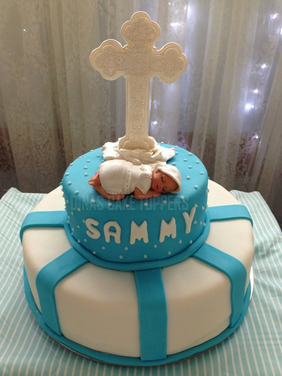 Items similar to boy baptism christening baby cake topper for Baby footprints cake decoration