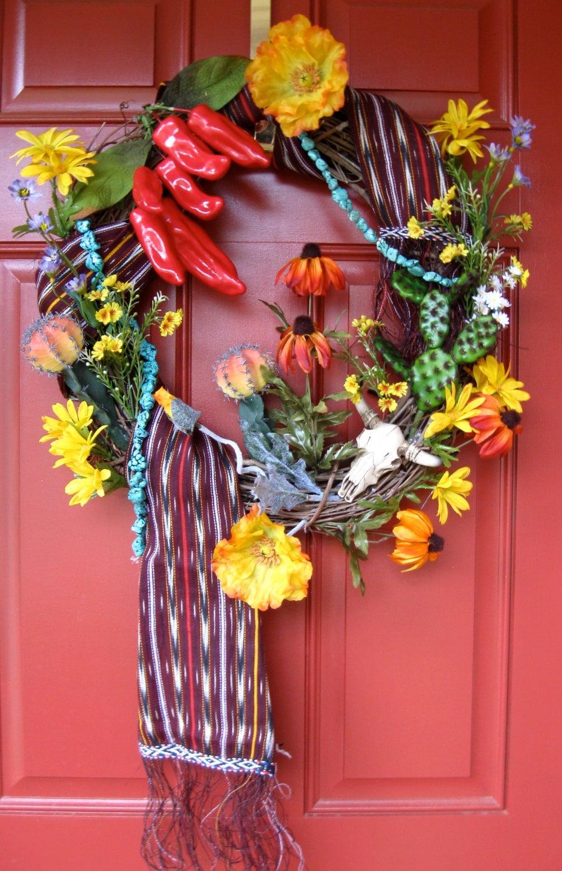 On Sale Southwestern Chili Peppers Wreath Cactus Sante Fe