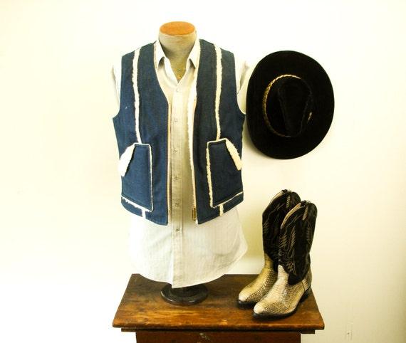 70s Mens Denim Shearling Vest Vintage Indigo Denim Western Style Cowboy Reversible Vest with Sherpa Wool Lining - Size 36-38 (SMALL)