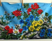 French vintage tea towel - mountain's wild flowers, 1960s kitchen towel, botanical floral dish towel, blue red yellow