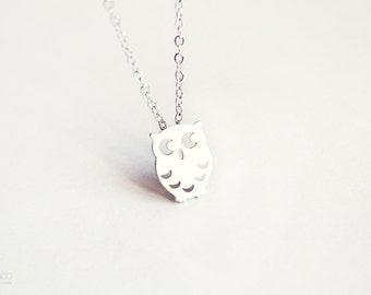 tiny owl - dainty silver necklace, gift for her under 15 usd