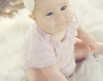 Christening baby headband, Newborn Headband, Baptism headband, flower girl, Newborn Photo Prop, Baptism Christening