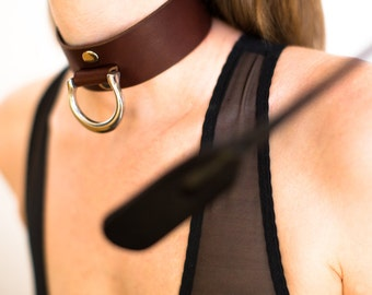 BDSM Collar - Slave Collar - Bondage Collar - Brown Leather Collar - Brown Slave Collar - Brown Bondage Collar - Steel