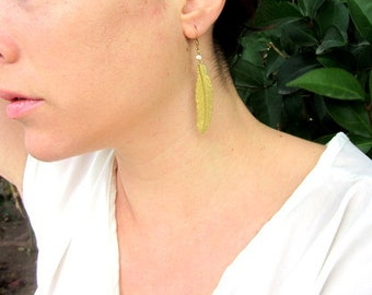 Gold feather dangle earring with tiny pearl.