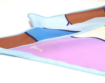 Vera Neumann silk scarf in pastels with a geometric pattern