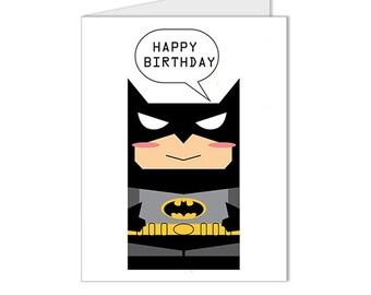 Get 10% OFF - Children Kid Happy Birthday Card  - Batman Superhero Collection Custom Blank Card - Special 2016 SALE