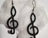 ON SALE - Music Note Earrings in Black Sparkle