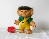 Vintage Dam Troll Bank Doll - 1961 green yellow brown hair